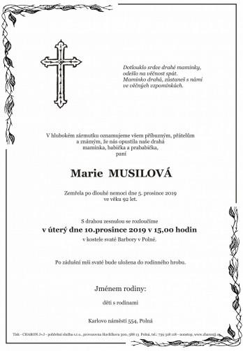 Smuteční oznámení - Marie MUSILOVÁ