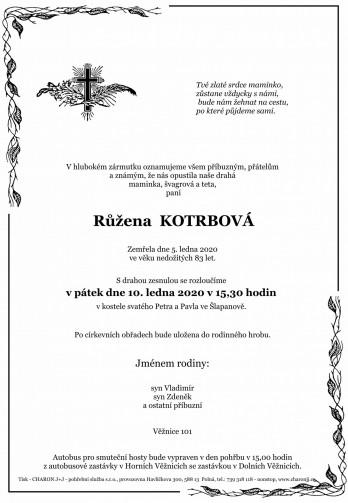 paní Růžena KOTRBOVÁ