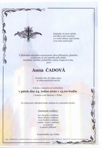 Smuteční oznámení - paní Anna ČADOVÁ