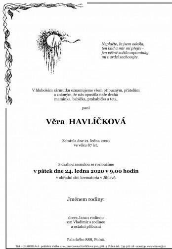 Smuteční oznámení - paní Věra HAVLÍČKOVÁ