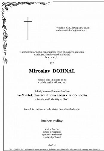 Smuteční oznámení - pan Miroslav DOHNAL