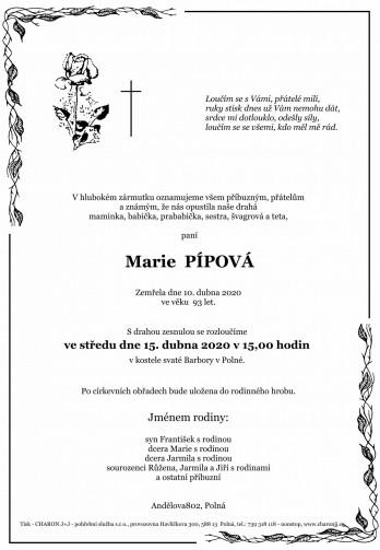 Smuteční oznámení - paní Marie PÍPOVÁ