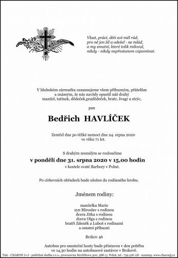 pan Bedřich HAVLÍČEK