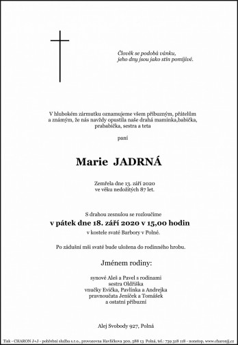 paní Marie JADRNÁ