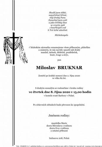 Smuteční oznámení - pan Miloslav BRUKNAR