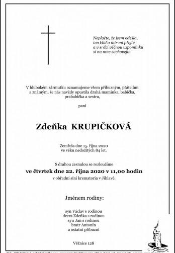 Smuteční oznámení - paní Zdeňka KRUPIČKOVÁ