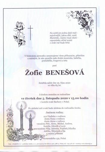 Smuteční oznámení - paní Žofie BENEŠOVÁ