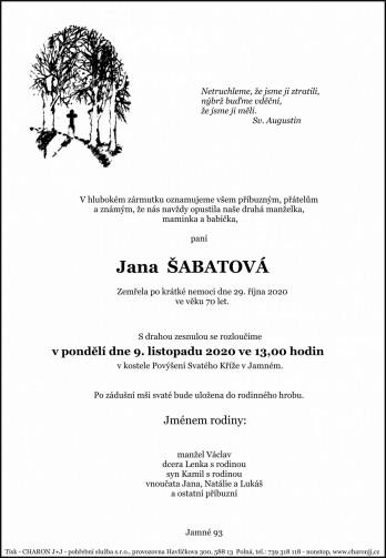 paní Jana ŠABATOVÁ