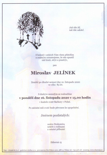 Smuteční oznámení - pan Miroslav JELÍNEK