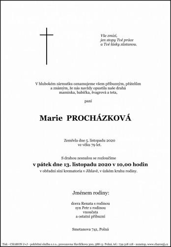 Smuteční oznámení - paní Marie PROCHÁZKOVÁ