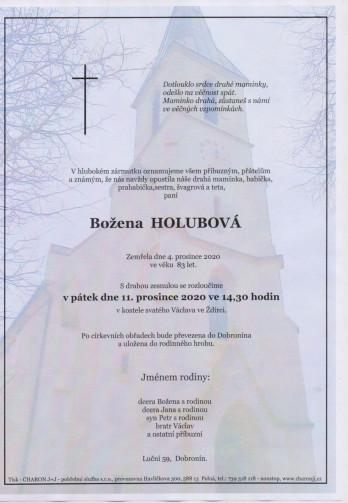 Smuteční oznámení - paní Božena HOLUBOVÁ