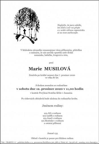 Smuteční oznámení - paní Marie MUSILOVÁ