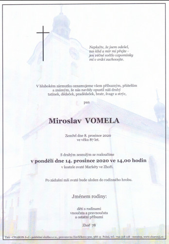 Smuteční oznámení - pan Miroslav VOMELA