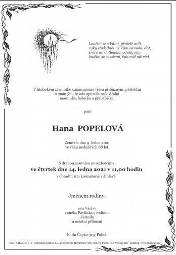 paní Hana POPELOVÁ