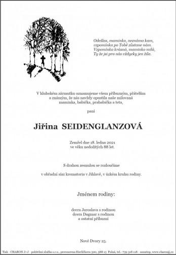 Smuteční oznámení - paní Jiřina SEIDENGLANZOVÁ