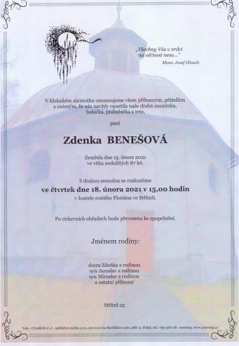 Smuteční oznámení - paní Zdenka BENEŠOVÁ