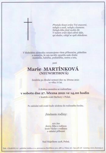 paní Marie MARTÍNKOVÁ (Neuwirthová)