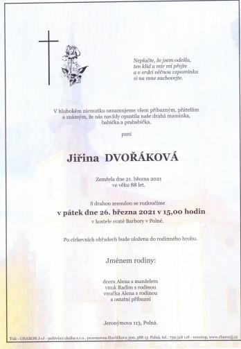 Smuteční oznámení - paní Jiřina DVOŘÁKOVÁ