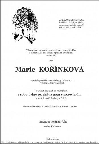 paní Marie KOŘÍNKOVÁ