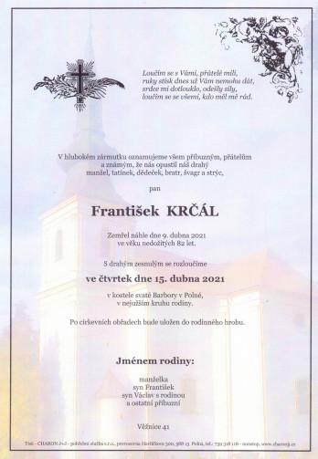 Smuteční oznámení - pan František KRČÁL