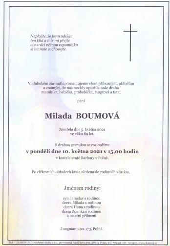Smuteční oznámení - paní Milada BOUMOVÁ