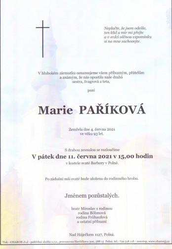 paní Marie PAŘÍKOVÁ