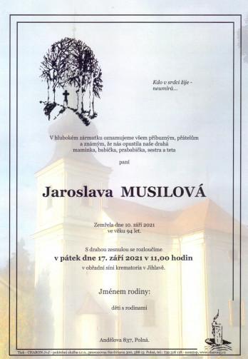 Smuteční oznámení - paní Jaroslava MUSILOVÁ
